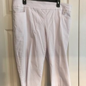 Womens Terra & Sky Plus Size 1X White Cropped Pant